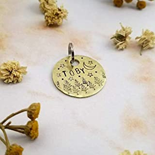 handmade personalized dog tag pet cat id custom stars moon trees name and number whimsical
