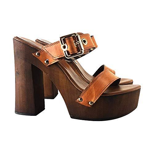 Kiara Shoes Zoccoli Alti in Cuoio Made in Italy - MY24-CUOIO (37, Cuoio)
