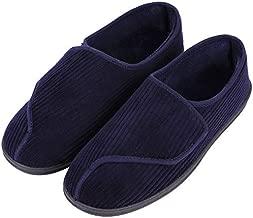 LongBay Men's Memory Foam Diabetic Slippers Comfy Warm Plush Fleece Arthritis Edema Swollen House Shoes (11, Navy Blue)