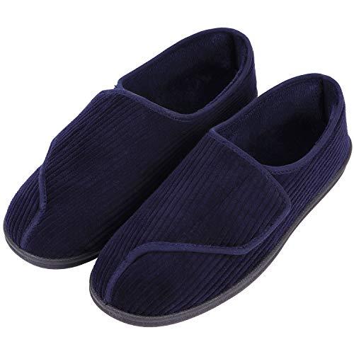 LongBay Men's Memory Foam Diabetic Slippers Comfy Warm Plush Fleece Arthritis Edema Swollen House Shoes (12, Navy Blue)