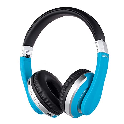 Ek-Mh7 Active Noise Cancelling Rechargeable Wireless Headphones Bluetooth Game Folding Headset Wired/Wireless 5.0 Portable Folding Headphones with Mic,for Online Class,PC/Cell Phones/TV (Blue)
