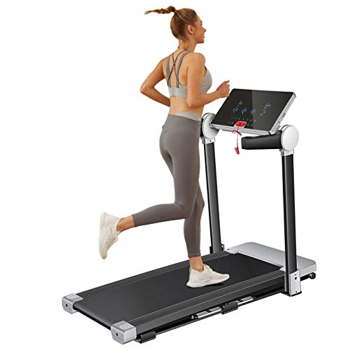CAROMA Electric Folding Treadmill at Home for Women Men Running Machine Indoor Portable for Home/Office Use 3.0 HP Treadmill Gym Equipment for Walking Jogging Exercise Training with Large LCD Monitor