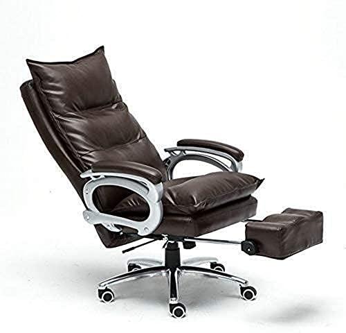 SACKDERTY Cadeira de braço com encosto Alto, cadeira de escritório ergonômica para Lazer com apoio para os pés ajustável, poltrona reclinável de Couro ajustável
