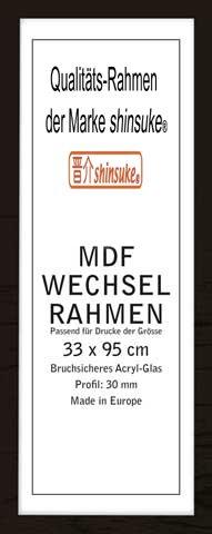 empireposter Wechselrahmen der Marke Shinsuke® für Poster der Grösse 33x95 cm aus MDF Holzfaserwerkstoff. Aussenmaß 36x98 cm, Holzoptik schwarz. 30mm Profil mit Ac