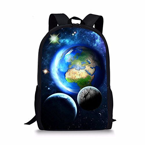 HUGS IDEA Modischer Kinder-Rucksack mit Planeten-Aufdruck für Kinder, Schüler, Schultasche, Büchertasche, für zehn Jungen