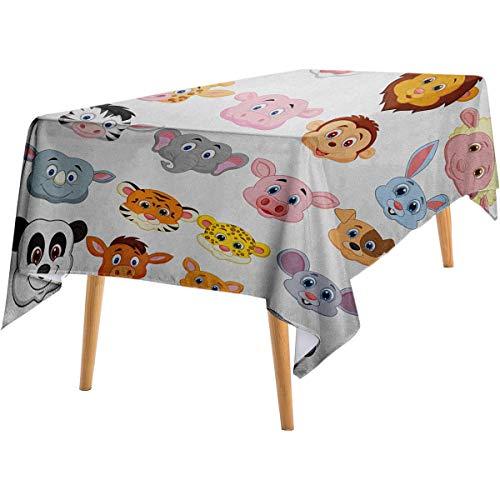 Cartoon Dustproof Tablecloth Kids Themed Baby Cute Animals Lions Pigs Cows Farm Safari Baby Nursery Room Image Wild Long Tablecloth 54'x72' Multicolor.jpg