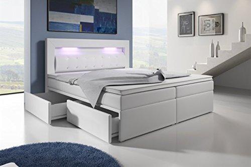 Wohnen-Luxus Boxspringbett mit Bettkasten 160x200 Grau LED Kopflicht Glasstein Hotelbett Neapel