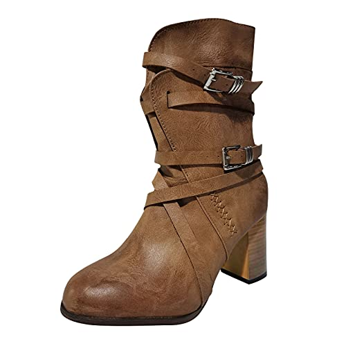 ZYAPCNGN Ankle Boots for Women Strappy Buckle Boots Chunky High Heel Boot Zipper Booties Cowgirl Boots Khaki
