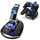 TNP PS3 Controller Charger Stand for Sony Playstation 3 Controller Wireless Dualshock 3 Charging, 2 Tier Docking Station Stand and 2 USB PS3 Cable Compatible Ports with LED Indicators, Slim Black