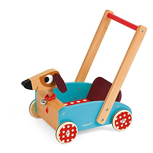 Janod - Chariot de Marche Enfant en Bois Chien Crazy Doggy - Dès 1 An, J05995, Multicolore