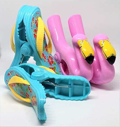 Serviette de Plage Clips Boca Style – 2 Paires Tongs et Flamingo
