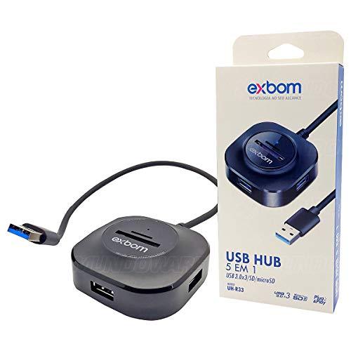 HUB USB 3.0 5Gbps 5x1 Leitor Cartão 3 portas Micro SD Carregador