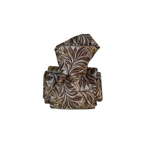 Segni et Disegni. Cravate artisanale. Confection main, Soie. Brun, Paisley. Fabriqué en Italie.