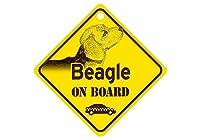 Beagle ON BOARD カーサインボード:ビーグル 乗車中 ミニサイン 吸着盤つき Made in U.S.A [並行輸入品]
