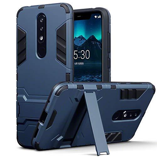 TERRAPIN Custodia Nokia 5.1 Plus, Silicone e Cover di Policarbonato Rigida con Funzione di Appoggio per Nokia 5.1 Plus Cover, Colore: Buio Blu