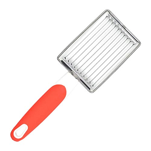 Stainless Luncheon Meat Cutter, Tomato Slicer Fruits Cutter Luncheon Meat Slicer with Handle Cheese Boiled Egg Ham Tomato Serrated Slicing Knife (Orange)