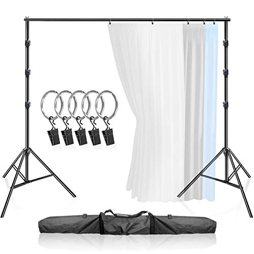 LimoStudio Large Heavy 10 x 9.6 feet Background Support System, Curtain Style Backdrop Stand, Sturdy Frame with 5 pcs Ring Holder Clip for Photography, Party, Family Events, AGG3003