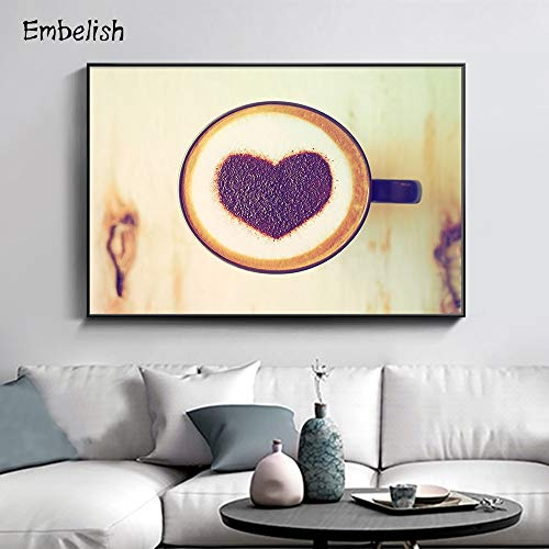 KWzEQ Canvas Painting Love Coffee for living room poster andwall decor60x80cmFrameless painting