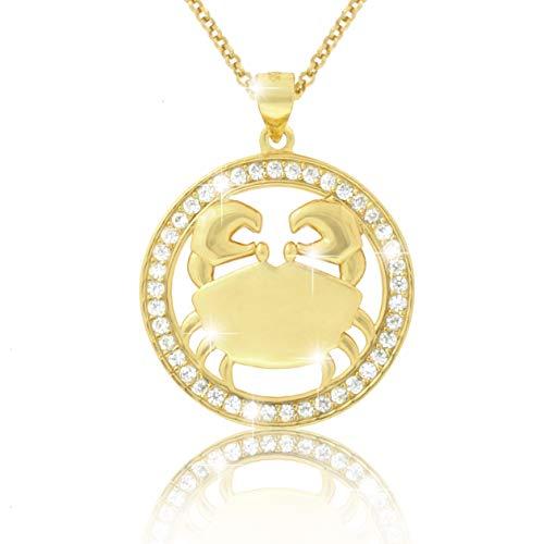 Pavel - Collana placcata in oro 18 kt con segno zodiacale'ECLIPSE' e zirconi brillanti, in confezione regalo e certificato di autenticità