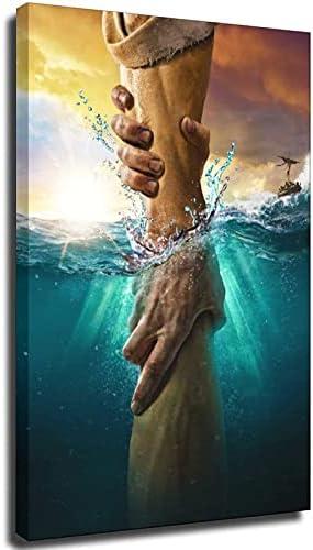 Jesus reaching into water painting