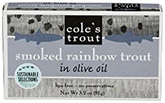 Farm-raised petite rainbow trout, raised-in a special organic chemical-free ecosystem Smoked over aromatic Applewood, packed in high-quality olive oil Great by itself or with your favorite crackers, cheese and wine Also delicious in a salad, or try a...