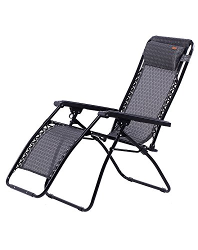 KingCamp Zero Gravity Lounger Patio Chair Textilene Folding Reclining Oversized Free-Adjustable with Headrest Pillow for Garden Outdoor Yard Beach Support 264lbs, Gray, 65 x 25.6 x 44.1 inches