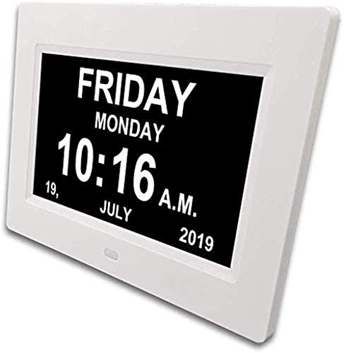 XFXD - seniorenhorloge 8 inch. Digitale kalender en seniorenklok foto-functie - digitale klok, wekker, kalender voor senioren & demenzieke zieke (bijv. Alzheimer) met herinneringsfunctie