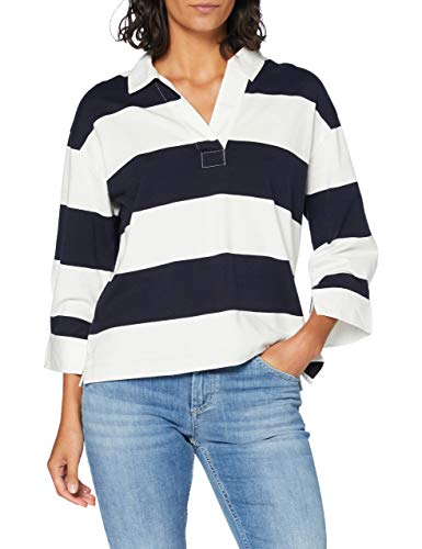 GANT D1. Feminine Striped Heavy Rugger Camisa de Polo, Evening Blue, M para Mujer