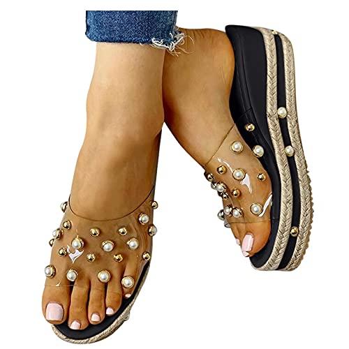 Nuevo 2021 Chanclas Mujer Sandalias Mujer Verano Moda Elegante Transparente perla Zapatos de plataforma Cuña Playa Cómodo Zapatillas planas Sandalias de Punta Abierta casual Fiesta Tacones Altos