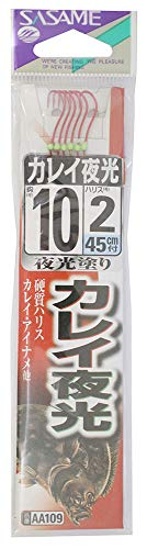 ささめ針(SASAME) AA109 カレイ 赤 夜光 糸付 10号