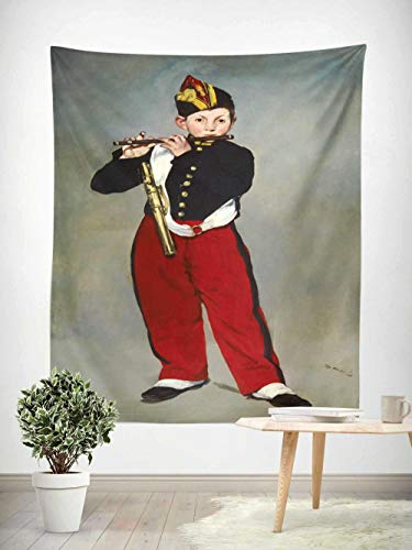 Tapiz Colcha Sábana de Picnic Decoración de la Pared Manta Arte de la,Alfombra de Picnic Bordes Reforzados para la Playa,1 pieza,Cuadro famoso, Manet-The Flute Boy 150×200cm