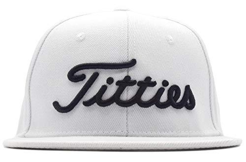 Power Caps Titties 3D Golf Hat Snapback Cap PGA Flat Bill Brim (White)