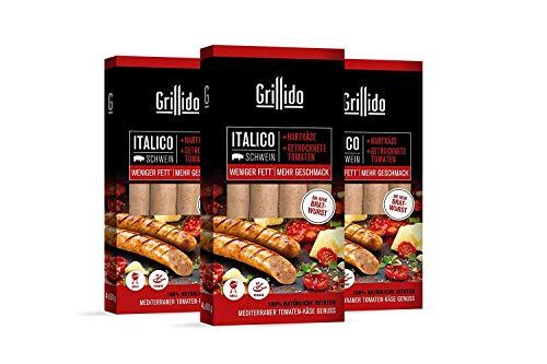 Grillido Bratwurst Italico I 3x 4 Stück I leckere & fettarme Bratwurst mit getrockneten Tomaten und Hartkäse I 100% natürlich