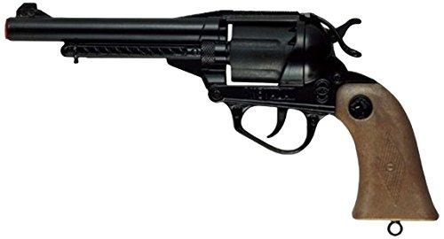 Pistola giocattolo in metallo, 12 colpi Modello nevada, nero A tamburo Impugnatura in finto legno Utilizza munizioni 12 colpi - 125 dB Munizioni non incluse Prodotto in italia Lunghezza: 26 cm