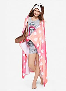 Justice for Girls Sloth Cozy Wearable Blanket w/Glitter Sloth Hood & Paw Mittens