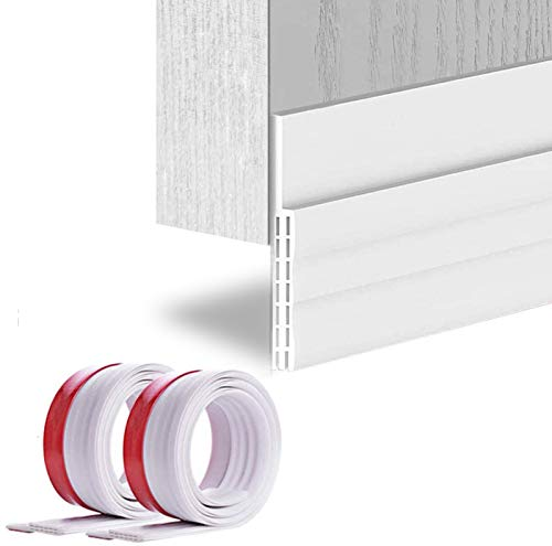 """[2Pack Large Door Sweep] Huge Gap Door Draft Stopper, 3-2/5""""W x 39"""" L Door Bottom Seal with Wider Strong Adhesive for Interior/Exterior Doors - Guard Against Drafts, Dust, Noise and Animals-White"""