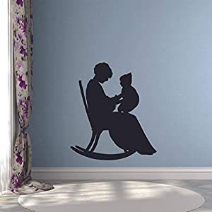 Grandmother Rocking Chair With Cat Wall Sticker Vinyl Wall Art Decal for Girls Boys Baby Kid Bedroom Nursery Daycare Kindergarten Cartoon Home Decor Sticker Wall Art Vinyl Decoration Size (20×16 inch)