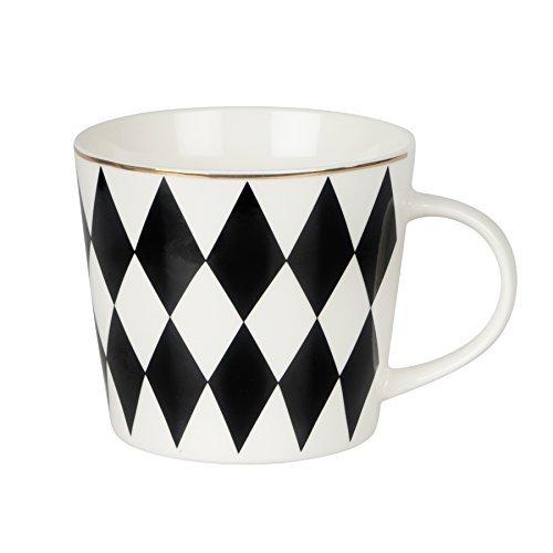 Kaffeebecher schwarz weiß mit Rauten Muster- goldener Rand-Porzellan-Skandinavien 375ml