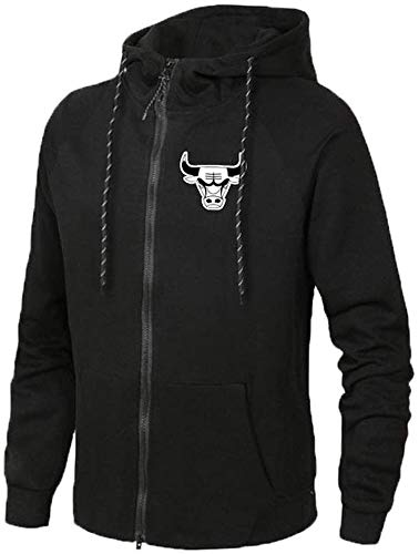 ZEDIYANJIN Sweatshirt Männer Sport Zipper Jacke - Basketball-Fan Chicago Bulls Sweatshirt Donner Trainings mit Kapuze Langarm Sweater Cardigan Schwarz-XXXL (Color : Black, Size : X-Large)