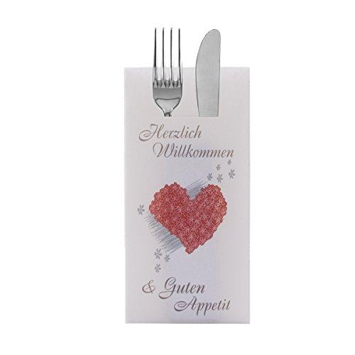Sovie HORECA Besteckserviette Herzlich Willkommen   Linclass® Airlaid 40x40 cm 100 Stück   Gastronomie Restaurant Willkommen