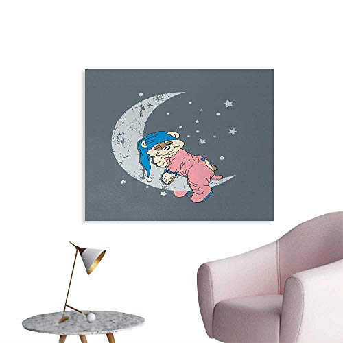 Unprecall Bear Poster Print Cute Kids Design with a Baby Bear in Pajamas Sleeping on The Grungy Moon Home Decor Wall Bluegrey Pink Beige W48 xL32