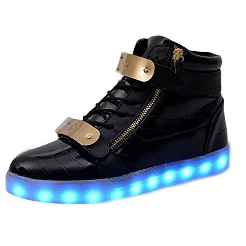 Padgene® Schuhe / Sneakers mit leuchtender Sohle, für Damen und Herren, aufladbar mit USB-Kabel, LED-Lichter, leuchten in 7Farben, schwarz, EU 43/UK 8