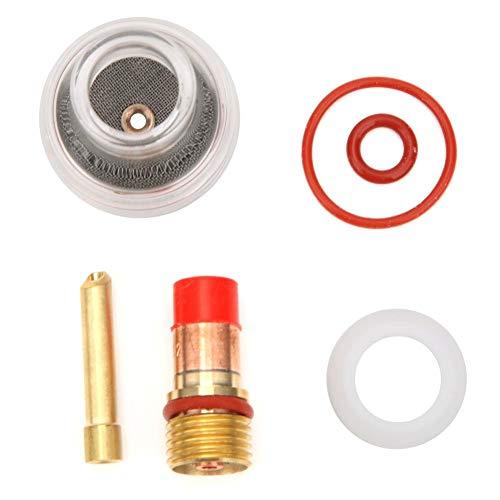 Antorcha Tig Lente de Gas Cuerpo de Collar Vaso de Vidrio Kit de Antorcha de Soldadura Tig Accesorios Para WP-17/18/26 Accesorios de Antorcha Repuestos Piezas Aguja de Tungsteno Arandela(2.4MM)