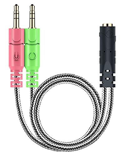 オーディオ変換ケーブル MillSO 3.5mmオーディオ分配ケーブル(4極メス- 3極オス,×2) 3.5mm【マイク付きイヤホンをPCで使用するための変換ケーブル-20CM