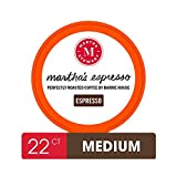 Martha Stewart Coffee Pods By Barrie House, 22 Count | Martha's Espresso Medium to Dark Roast | Single Serve Capsules Compatible With Keurig K Cup Brewers | Organic & Fair Trade Certified