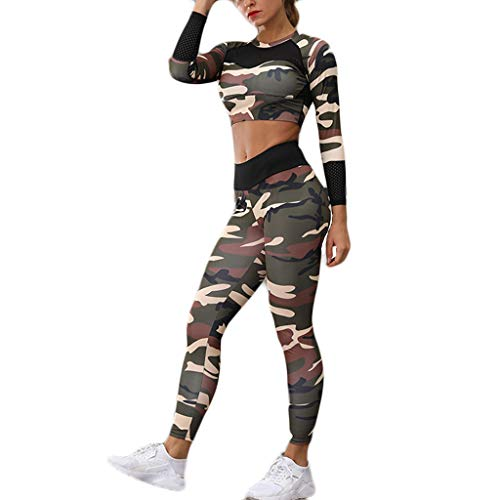 SETSAIL Damen Camouflage gedruckt Sportanzug Yoga Anzug Langarm Laufhose Anzug Gedruckte Yoga Wear Langarm Sport Laufhose Set