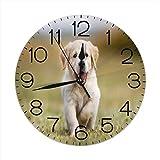 Lewiuzr Reloj de Pared Redondo Reloj de Escritorio Moderno Reloj Colgante clásico Que no Hace tictac para la Oficina de la Escuela en casa,Hierba de Perro Pug