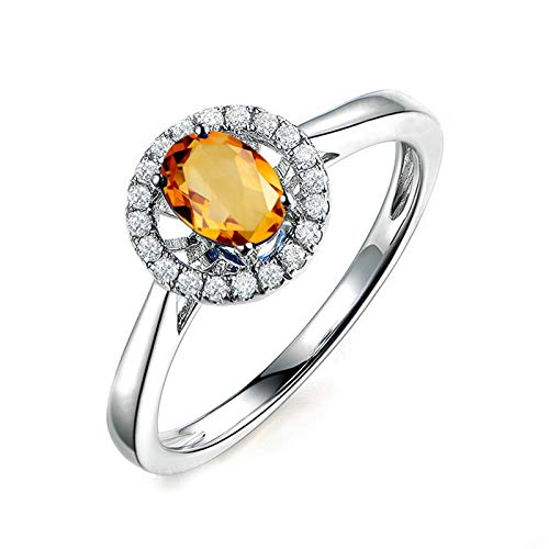 Adokiss Jewellery Vintage Ring Sterling Silver, Wedding Rings for Her Oval 8X6MM Yellow Citrine with White Cubic Zirconia Halo | Silver | Size H 1/2 for Your Wife/Girfriend