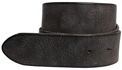 Brazil Lederwaren Wechselgürtel aus weichem Vollrindleder Used-Look ohne Schnalle 4 cm | Druckknopf-Gürtel für Damen Herren 40mm | Vintage-Look | Schwarz 85cm