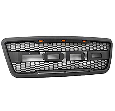ZMAUTOPARTS Mesh Front Bumper Upper Grille Matte Black w/Amber LED Signal Lights Compatible with 2004-2008 Ford F-150
